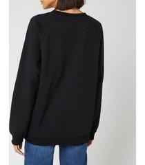 balmain women's flocked logo sweatshirt - black - fr 34/uk 6 - black