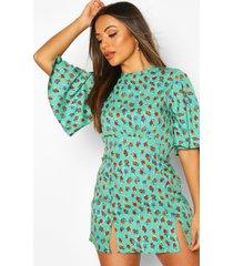petite floral flute sleeve dress, green
