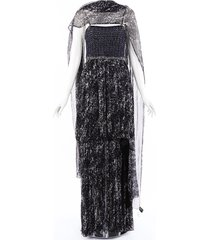 chanel tweed silk maxi dress blue/white sz: m