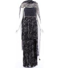chanel tweed silk maxi dress