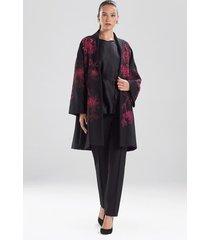 natori compact knit crepe beaded caban jacket, women's, size l