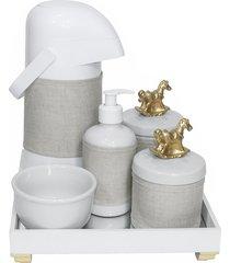 kit higiene espelho completo porcelanas, garrafa e capa cavalinho dourado quarto bebê unissex
