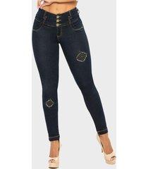 jeans push up azul petróleo cheviotto