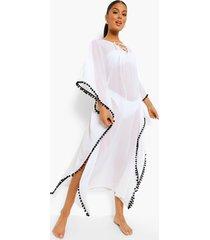 strand jurk met split en bolletjes, white