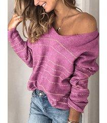 rayas one suéter de hombro de punto