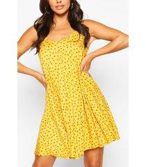 ditsy floral swing dress, mustard