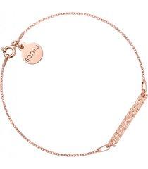 bransoletka z różowym złotem z chropowatą blaszką