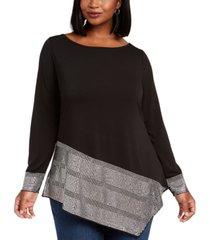 belldini plus size embellished-hem asymmetrical top