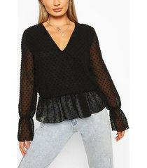 dobby mesh tunic smock top, black