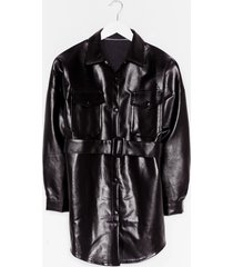 womens faux leather change belted longline jacket - black