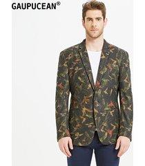 traje de blazer moda delgada gaupucean para hombre-verde