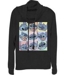 fifth sun women's disney lilo stitch 9 box stitch fleece cowl neck sweatshirt