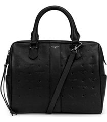 t tahari logo leather satchel