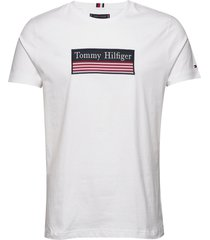 striped woven label tee t-shirts short-sleeved vit tommy hilfiger