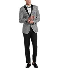 paisley & gray slim fit suit separates dinner jacket black & white houndstooth
