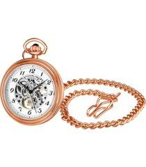 stuhrling men's rose gold stainless steel chain pocket watch 48mm