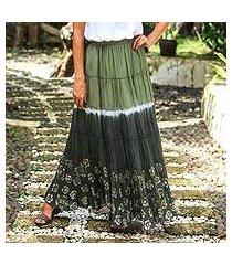 cotton batik skirt, 'festive summer in olive' (thailand)