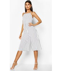 high neck open back jumpsuit, white