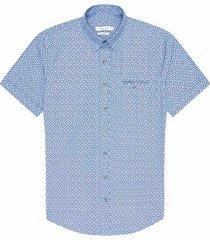 camisa casual manga corta estampada slim fit para hombre 93034