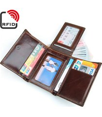 portafoglio in pelle vera a trifold con rfid antimagnetico con multi card slots