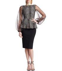 chiara boni la petite robe women's hasana sheer leopard print peplum dress - africa black combo - size 6
