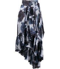 alexandre vauthier asymmetric floral print ruffled skirt - blue