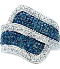 blue & white diamond statement ring (1 ct. t.w.) in sterling silver