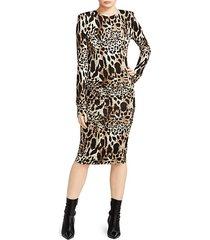 ruched jersey lynx print dress