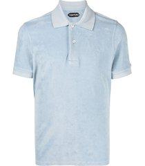 tom ford short-sleeve fleece polo shirt - blue