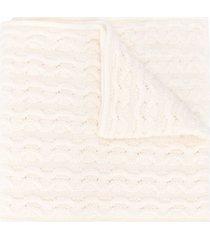 agnona cable knit cashmere scarf - neutrals