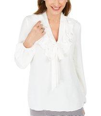 kasper petite ruffle-collar blouse