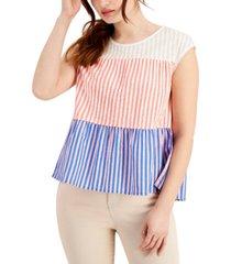 style & co petite cotton striped peplum-hem top, created for macy's