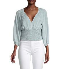 vintage havana women's smocked-waist top - mint - size l