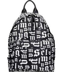 palm angels broken monogram backpack in black synthetic fibers