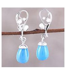 rhodium plated chalcedony dangle earrings, 'garden melody' (india)
