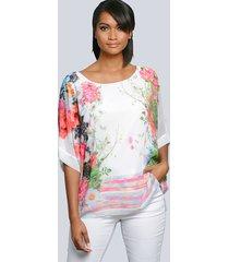 blouse alba moda wit::pink::groen