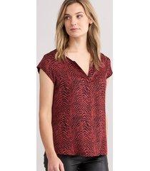 blouse top met zebraprint van elastische zijde