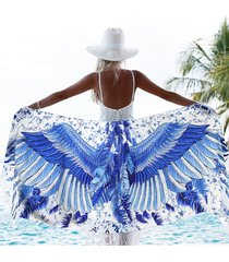 women summer angel wings scarf bird feathers floral print silky satin wrap shawl