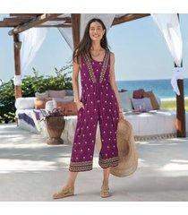 sundance catalog women's amira embroidered jumpsuit in boysenbery large