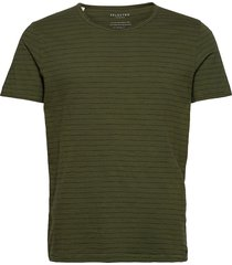 slhmorgan stripe ss o-neck tee w t-shirts short-sleeved grön selected homme