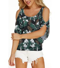 navy random floral print cold shoulder tie-up at back causal t-shirt