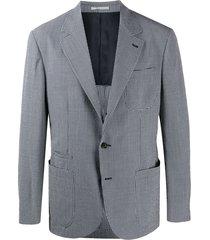 brunello cucinelli gingham-print seersucker blazer - blue