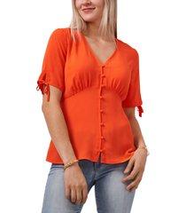 women's vince camuto front button blouse, size xx-small - orange