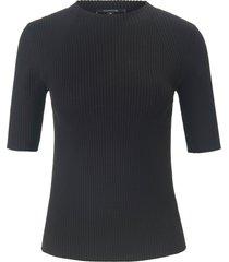trui met korte mouwen en turtleneck-kraagje van comma, zwart