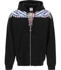 marcelo burlon birds wings print full zip hoodie