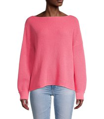 french connection women's waffle-knit pullover - bright pink - size s