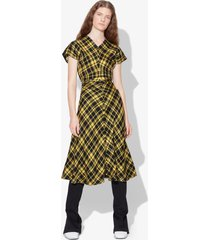 proenza schouler crinkled plaid gathered dress black/faded neon yellow 0
