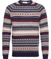 eugene wool knit gebreide trui met ronde kraag blauw les deux