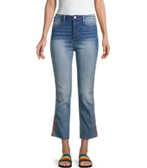 driftwood women's colette embroidered cropped jeans - medium wash - size 29 (6-8)