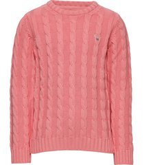 cotton cable crew pullover roze gant